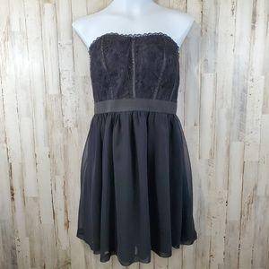 Elle Women Dress Black Strapless Lace Bodice Sheer